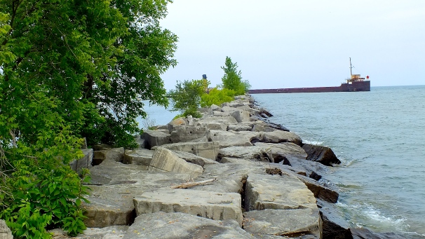 Rocks leading away from the Port Credit pier.