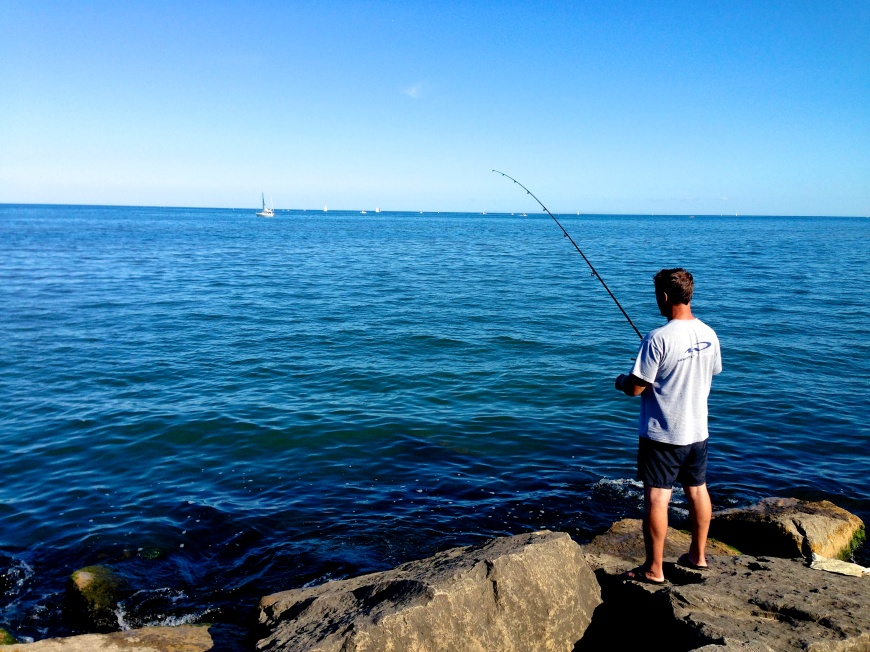 What could be better close to home than a guy throwing his rod out at the end of the day?