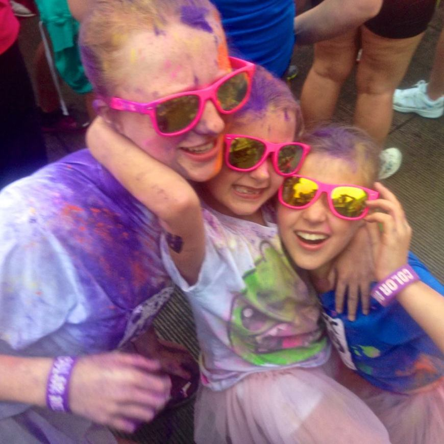 My nieces and Jessie all coloured up and ready to run and play through the Color Me Rad 5K run  in October.